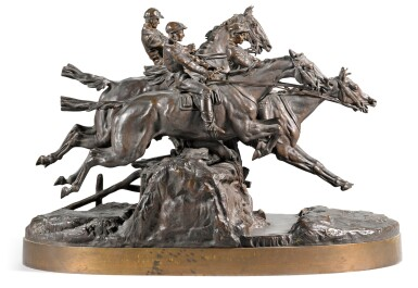 View 1. Thumbnail of Lot 292. The Steeplechase: a bronze figural group, cast by Chopin, after the model by Evgeny Lansere (1848 - 1886), 1882.