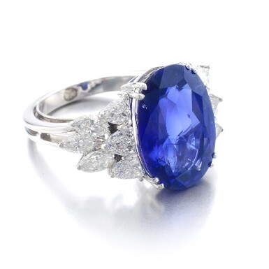 View 2. Thumbnail of Lot 1015. Sapphire and diamond ring.