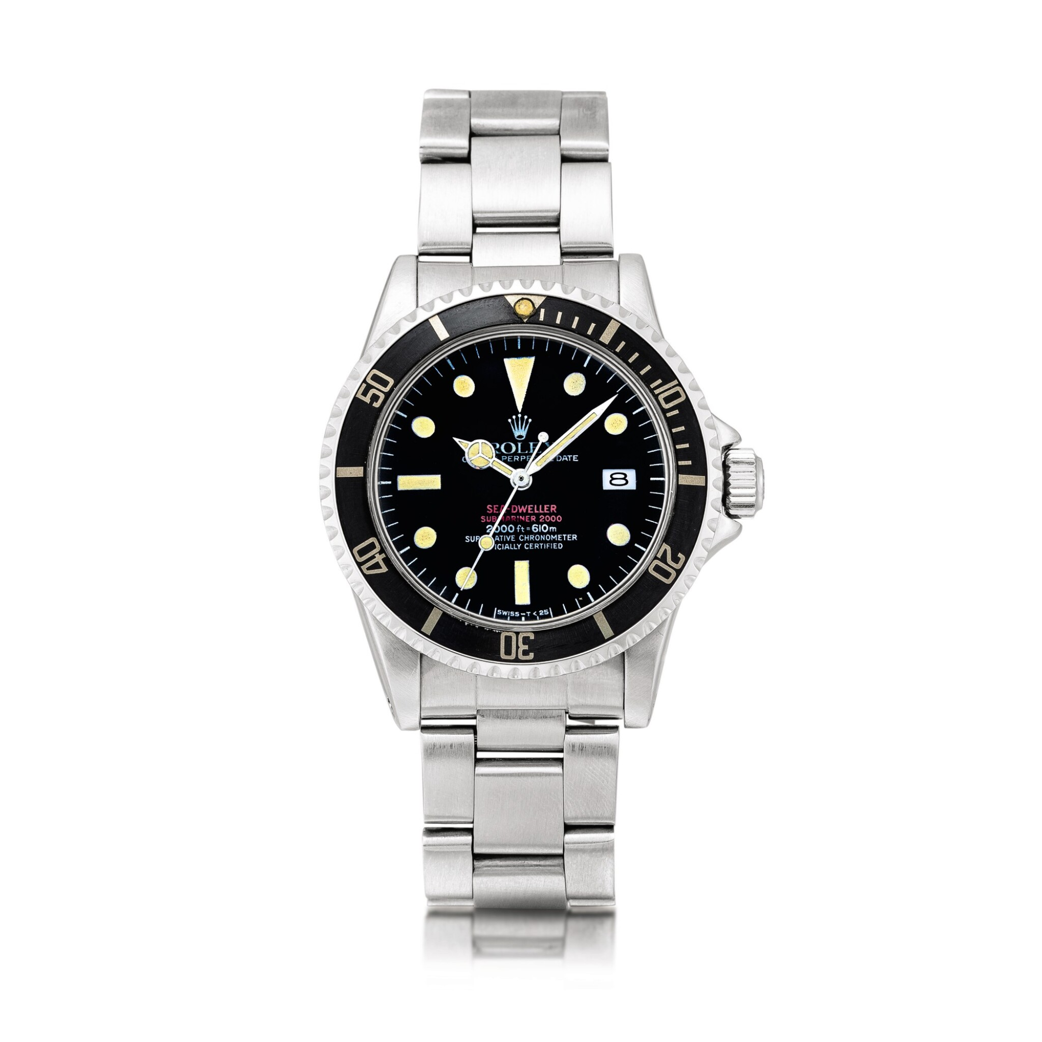 """View full screen - View 1 of Lot 2141. Rolex   """"Double Red"""" Sea-Dweller, Reference 1665, A stainless steel wristwatch with date and bracelet, Circa 1977   勞力士   """"Double Red"""" Sea-Dweller型號1665  精鋼鏈帶腕錶,備日期顯示,約1977年製."""