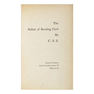 OSCAR WILDE | THE BALLAD OF READING GAOL BY C. 3. 3. LONDON: LEONARD SMITHERS, 1898