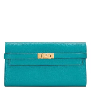 View 1. Thumbnail of Lot 23. Hermès Blue Paon Chevre Leather Kelly Longue Wallet.