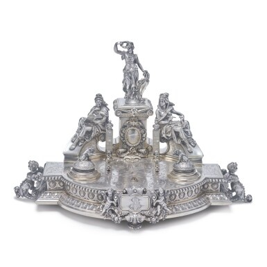 A LARGE CONTINENTAL SILVER FIGURAL INKSTAND, LATE 19TH CENTURY