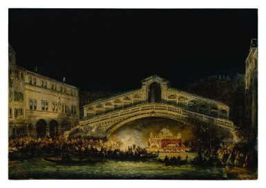 View 3. Thumbnail of Lot 667. A pair of nocturnal Venetian scenes on the Feast of the Redentore.