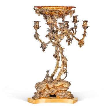 View 2. Thumbnail of Lot 205. A monumental silver candelabra centerpiece, Sazikov, St Petersburg, 1850.