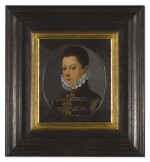 GIOVANNI MARIA BUTTERI | PORTRAIT OF A BOY IN A BURGUNDY COAT AND WHITE RUFF, BUST-LENGTH