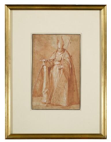 View 3. Thumbnail of Lot 22. Recto: A Bishop Verso: A drapery study.
