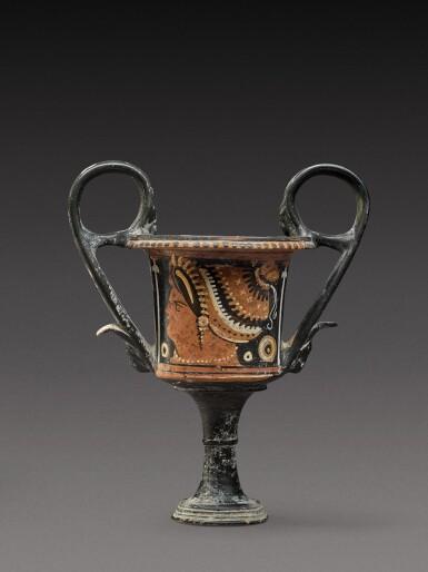 View 2. Thumbnail of Lot 17. An Apulian Red-figured Kantharos, attributed to the Kantharos Group, circa 350-330 B.C..