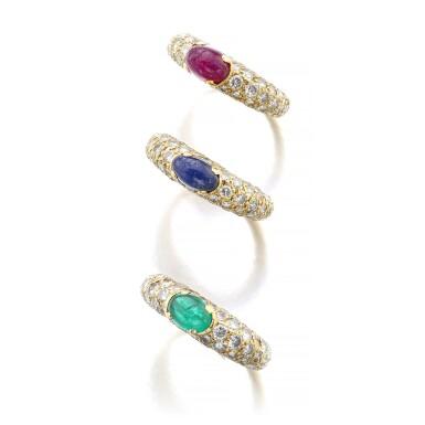View 2. Thumbnail of Lot 1074. Three gem set and diamond rings.