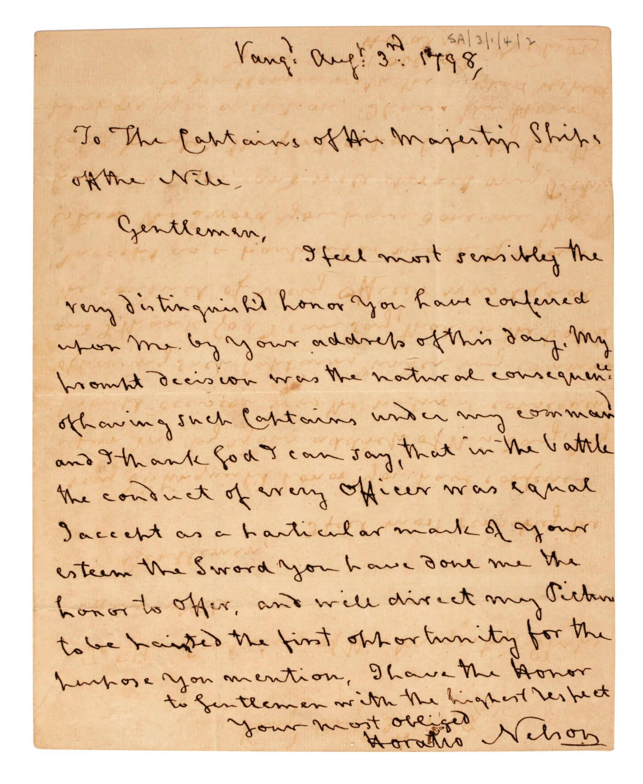 View full screen - View 1 of Lot 91. NELSON   Autograph letter signed, to Captains of Egyptian Club, 1798.