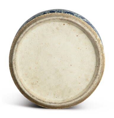 View 5. Thumbnail of Lot 1133. A BLUE AND WHITE 'FLORAL' BALUSTER JAR AND COVER, 19TH CENTURY.