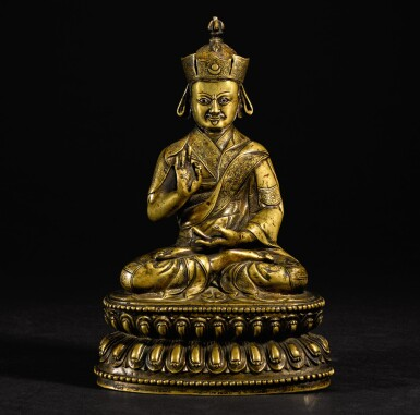 View 1. Thumbnail of Lot 189. A SILVER-INLAID COPPER-ALLOY FIGURE OF NYINGMAPA LAMA TIBET, 16TH/17TH CENTURY   十六/十七世紀 藏傳銅錯銀寧瑪派喇嘛坐像.
