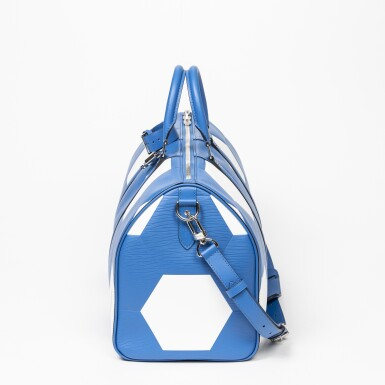 View 5. Thumbnail of Lot 110. Blue and White World Cup 50 Keepall Bandouliere in Apollo Leather with Palladium Brass Hardware, 2018.