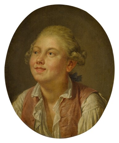 Portrait of a young man, bust-length, looking up
