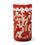 A red overlay snowflake glass 'flower' brushpot, Qing dynasty, 19th century