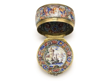 View 6. Thumbnail of Lot 1. An enamel snuff box with jewelled gold mounts, possibly Southern German, dated 1671.