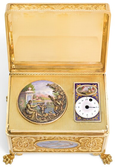A GOLD AND ENAMEL AUTOMATON CASKET WITH TIMEPIECE, AUTOMATON AND MUSIC, 19TH CENTURY AND LATER