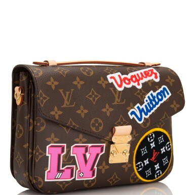 View 3. Thumbnail of Lot 114.  Louis Vuitton Monogram Patches Pochette Metis of Coated Canvas with Golden Brass Hardware.