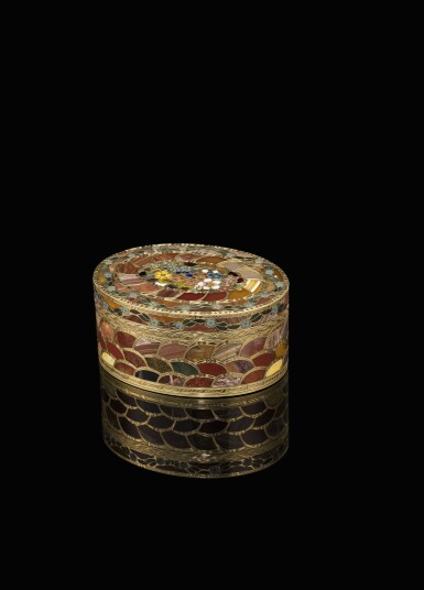 View 1. Thumbnail of Lot 12. A very rare gold and pietra dura 'Steinkabinett', complete with secret compartment and explanatory booklet, Christian Gottlieb Stiehl, Dresden, circa 1770.