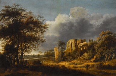 View 1 of Lot 159. A landscape with the ruined castle of Egmond, a river beyond.