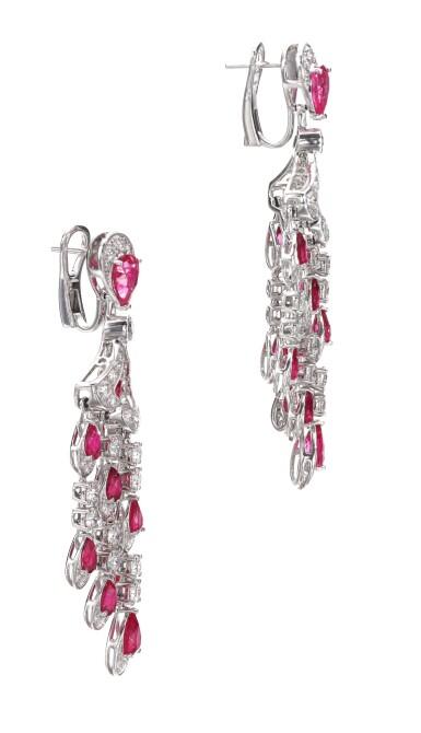 View 2. Thumbnail of Lot 651. Graff | Pair of ruby and diamond pendent earrings | 格拉夫 | 紅寶石配鑽石耳墜一對 .
