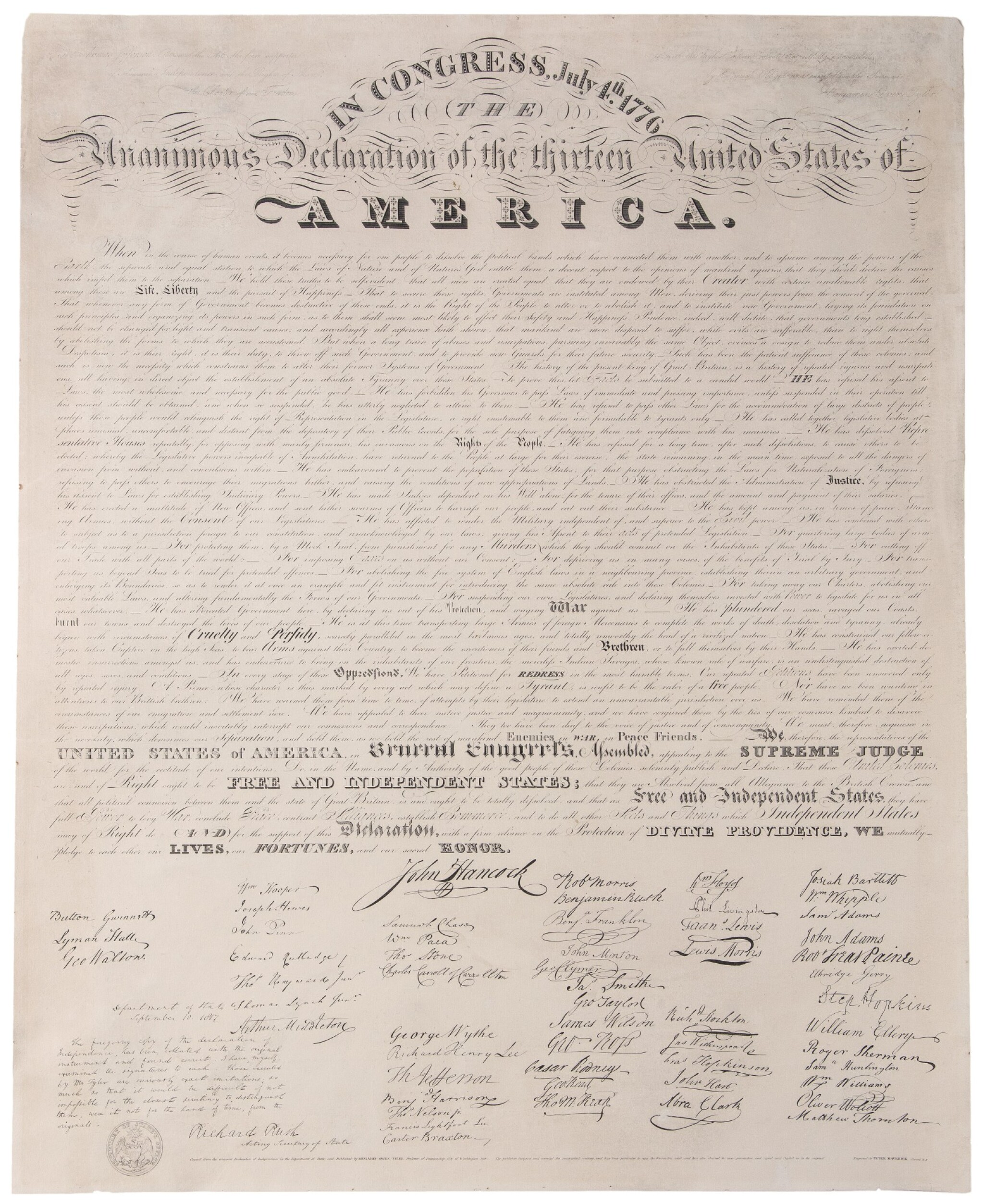 View full screen - View 1 of Lot 61. Declaration of Independence | Copied from the original Declaration of Independence in the Department of State.