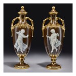 A PAIR OF MINTONS PÂTE-SUR-PÂTE BROWN-GROUND VASES AND COVERS, 'THE HALF AND THE WHOLE' 1895-1899