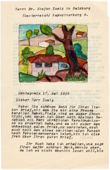 View 4. Thumbnail of Lot 62. Hermann Hesse | Highly important series of 62 letters and postcards to Stefan Zweig, 1903-1938.