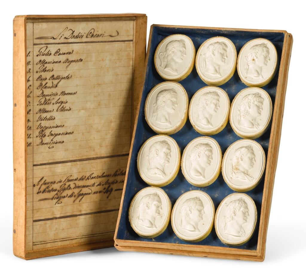A CASED SET OF TWELVE 'GRAND TOUR' PLASTER CAMEO PORTRAITS AFTER INTAGLIOS OF ROMAN EMPERORS, ITALIAN, EARLY 19TH CENTURY