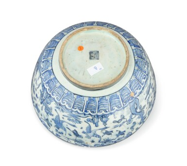 View 4. Thumbnail of Lot 282. A Monumental Safavid Blue and White Pottery Bowl, Persia, 17th Century.