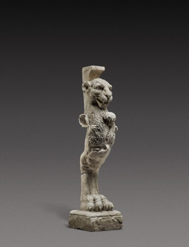 View 2. Thumbnail of Lot 140. Italian, 19th century, After the Antique   Table Leg in the form of a Lion.