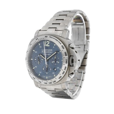 View 2. Thumbnail of Lot 9264. Panerai   Luminor Chrono Daylight, Reference PAM 327, A titanium chronograph wristwatch with date and bracelet, Circa 2009   沛納海   Luminor Chrono Daylight 型號PAM 327   鈦金屬計時鏈帶腕錶,備日期顯示,約2009年製.