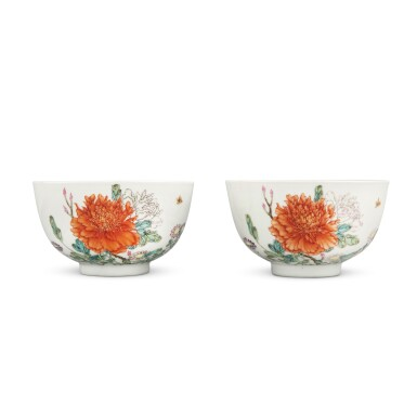 View 1. Thumbnail of Lot 205. A pair of later-enameled famille-rose 'floral' bowls, Marks and period of Yongzheng   清雍正 後加彩粉彩牡丹圖盌一對 《大清雍正年製》款.