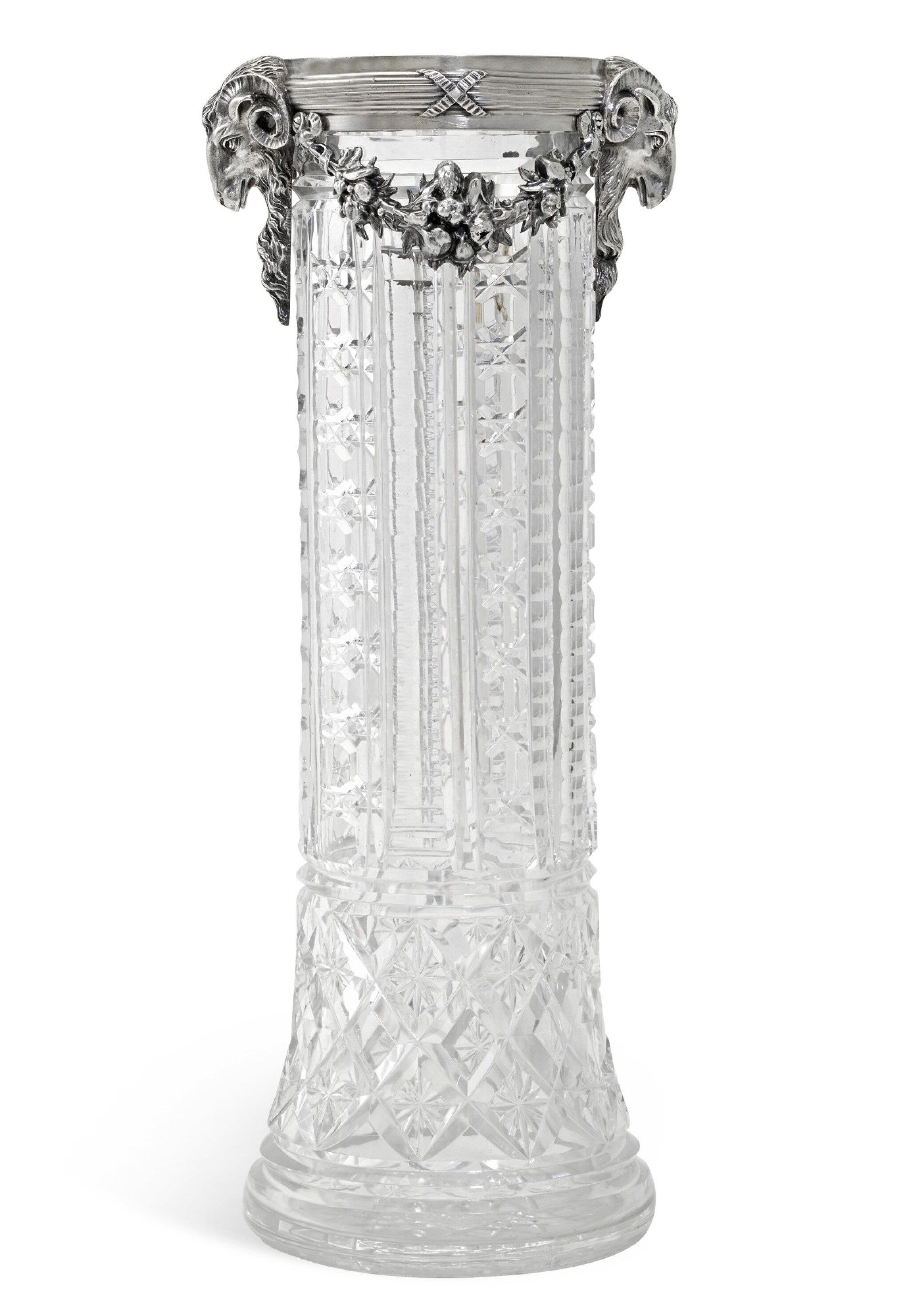 View full screen - View 1 of Lot 110. A silver-mounted, cut-glass vase, St Petersburg, 1908-1917.