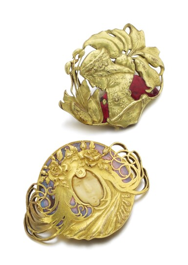 SILVER GILT AND ENAMEL BROOCH, AND A BELT BUCKLE | PIEL FRÈRES, CIRCA 1900