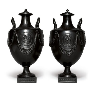 A PAIR OF WEDGWOOD AND BENTLEY BLACK BASALT TWO-HANDLED VASES AND COVERS CIRCA 1775
