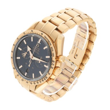 View 2. Thumbnail of Lot 13. OMEGA | REFERENCE 3153.80.00 SPEEDMASTER 'BROAD ARROW' A PINK GOLD AUTOMATIC CHRONOGRAPH WRISTWATCH WITH DATE AND BRACELET, CIRCA 2009.
