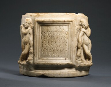 View 1. Thumbnail of Lot 50. A FRAGMENTARY ROMAN MARBLE CINERARY URN, 1ST/2ND CENTURY A.D..