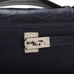 Hermès Mini Kelly Pochette of Bleu Indigo Matte Mississippiensis Alligator with Palladium Hardware