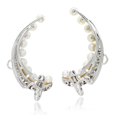 View 3. Thumbnail of Lot 25. Pair of cultured pearl and diamond ear clips, 'Pearl Rose'.