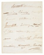 TREATY OF BERLIN | set of 20 signatures, written just prior to the signing of the treaty, 13 July 1878