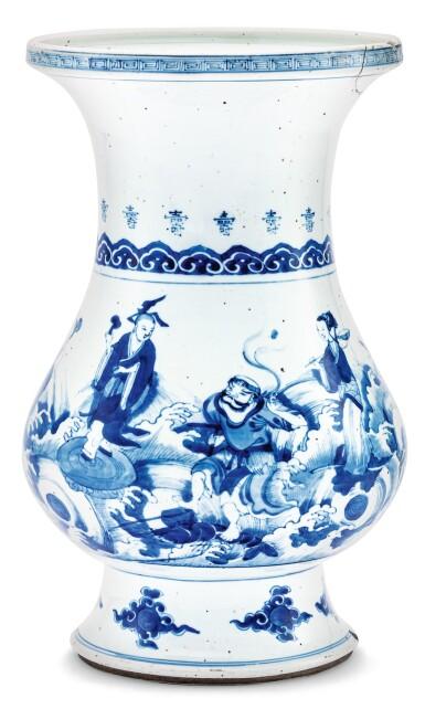 View 1. Thumbnail of Lot 14. VASE BALUSTRE AUX IMMORTELS EN PORCELAINE BLEU BLANC DYNASTIE QING, XVIIIE SIÈCLE | 清十八世紀 青花八仙賀壽圖盤口尊 | A blue and white 'Immortals' vase, Qing Dynasty, 18th century.