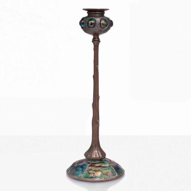 """View 1. Thumbnail of Lot 15. Jeweled """"Turtle Back"""" Candlestick."""