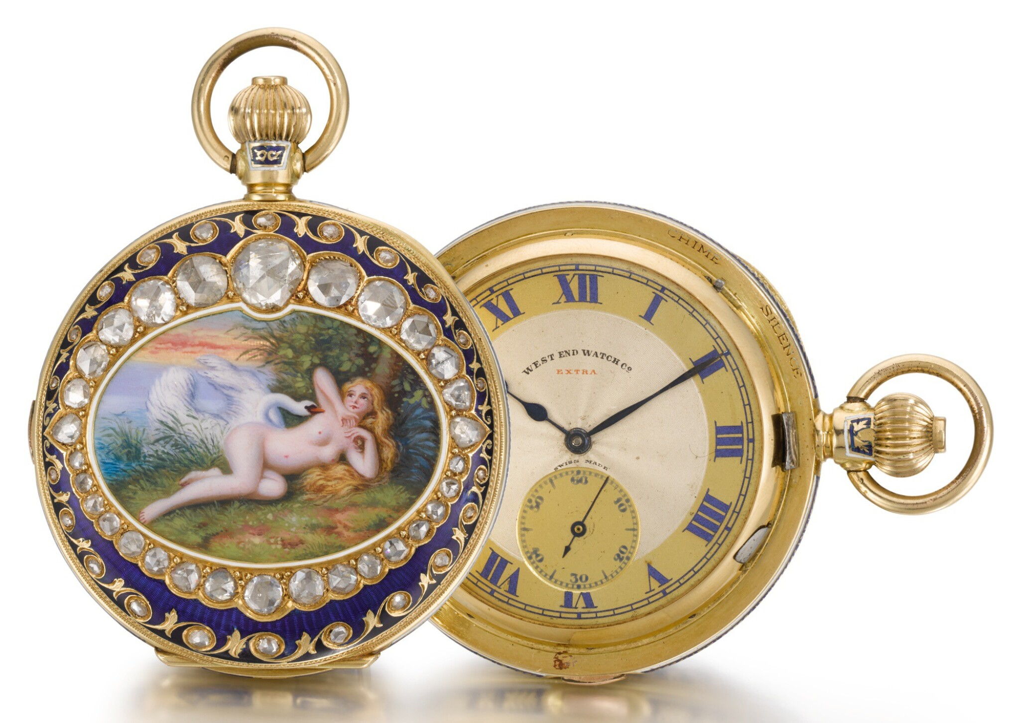 View full screen - View 1 of Lot 228. WEST END WATCH CO.   A GOLD, ENAMEL AND DIAMOND-SET HALF-HUNTING CASED MINUTE REPEATING CLOCK WATCH MADE FOR THE INDIAN MARKET   CIRCA 1910.
