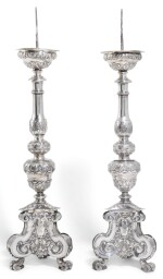 A PAIR OF CONTINENTAL SILVER PRICKET CANDLESTICKS, UNMARKED, ITALIAN OR NETHERLANDISH, MID-17TH CENTURY
