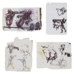 Untitled (Four Drawings of Boxers)