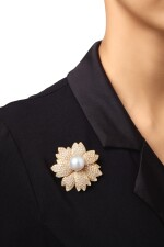 CULTURED PEARL AND DIAMOND CLIP-BROOCH