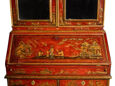 View 6. Thumbnail of Lot 63. A George I gilt heightened red japanned bureau cabinet, first quarter 18th century.