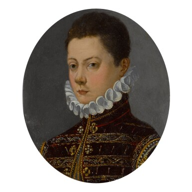 GIOVANNI MARIA BUTTERI   PORTRAIT OF A BOY IN A BURGUNDY COAT AND WHITE RUFF, BUST-LENGTH