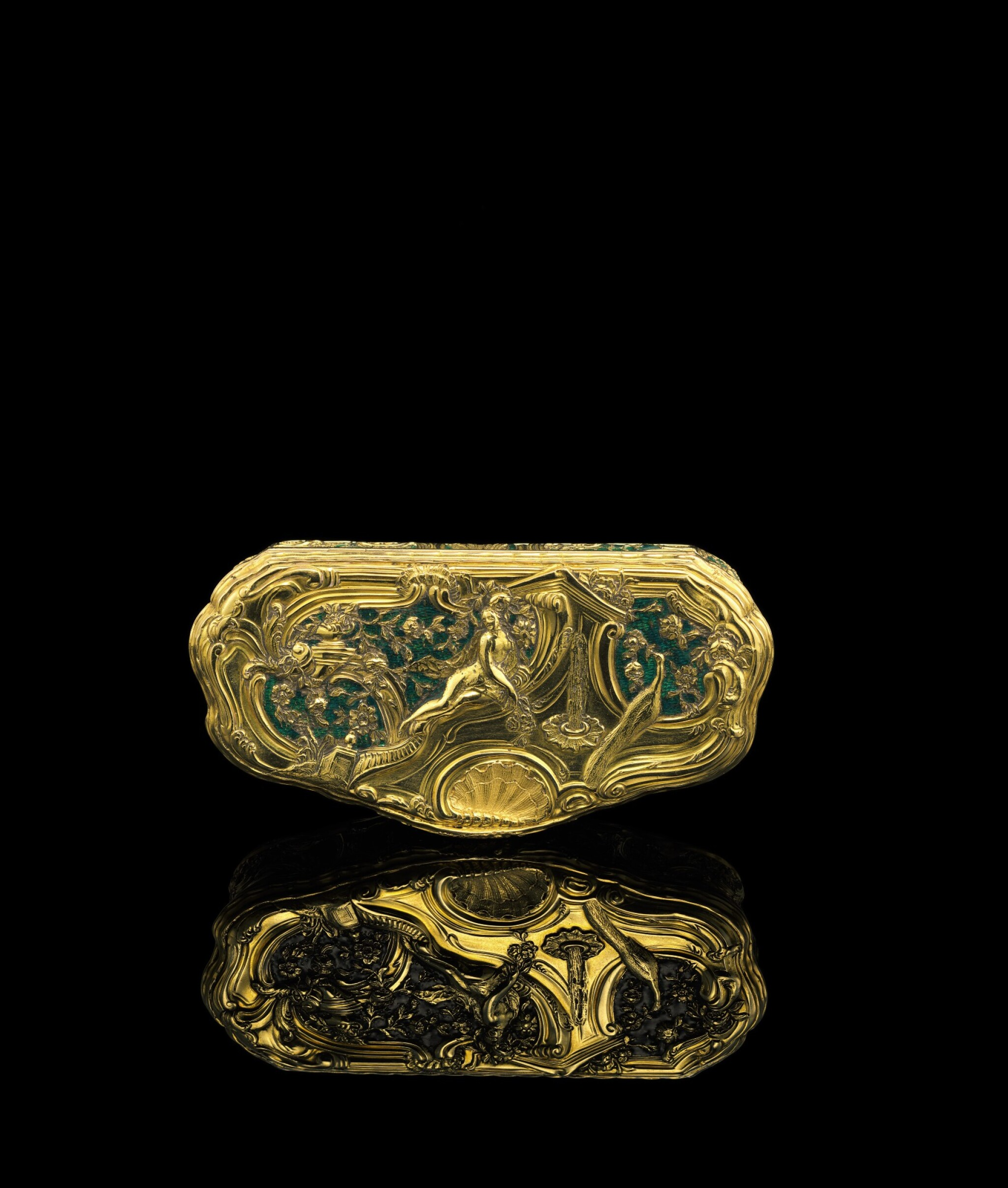 View full screen - View 1 of Lot 5. A gold and enamel snuff box, Frantz Bergs, Stockholm, probably circa 1730.