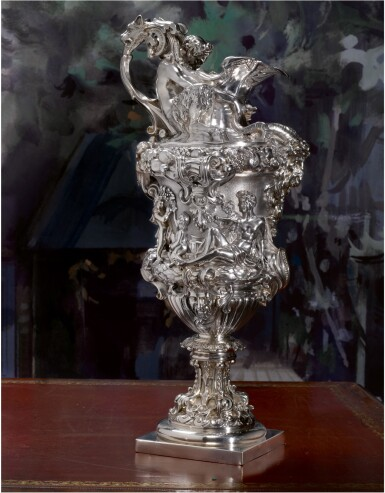 View 3. Thumbnail of Lot 7. A PAIR OF LARGE AND HEAVY EARLY VICTORIAN SILVER EWERS, FROM THE COLLECTION OF SOPHIA LOREN, JOHN FIGG, LONDON, 1838-39.